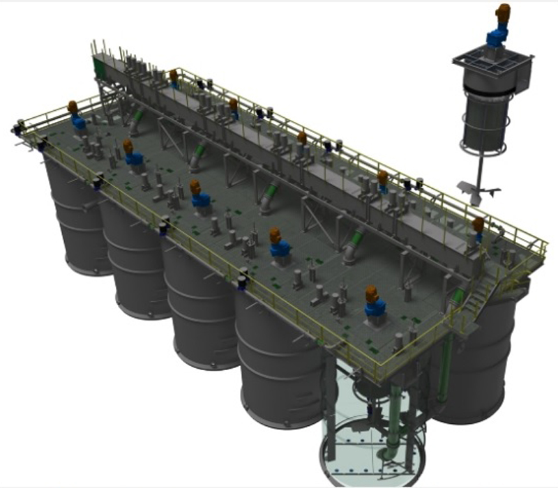 10 Stage, 150 meters-cube Resin in Pulp Pumpcell Plant complete with 14 meters-squared Pumpcell Mechanisms