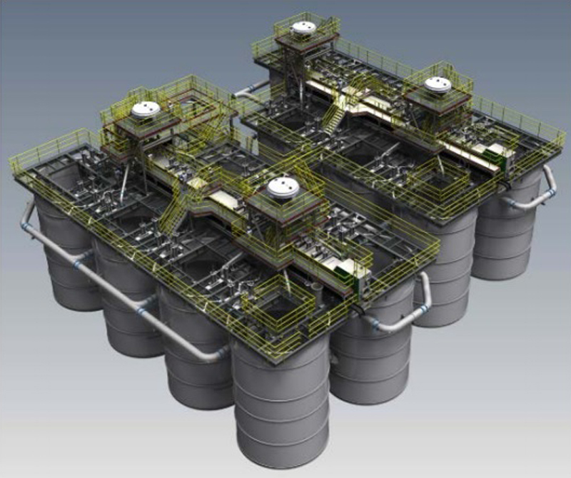 14 Stage, 330 meters-cube Carbon in Pulp Pumpcell Plant complete with 21.35 meters-squared Pumpcell Mechanisms
